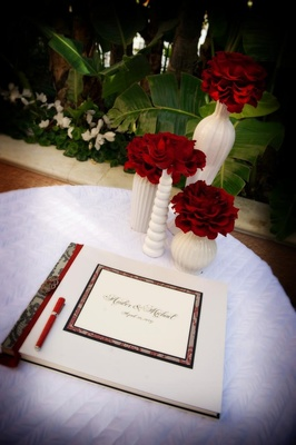 Red and black lace bordered guestbook