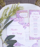 south asian wedding inspiration, intricate pattern on invitations, menu, wedding stationery