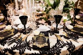 wedding reception black white sequins black gold silverware flatware black goblet wine glass luxe