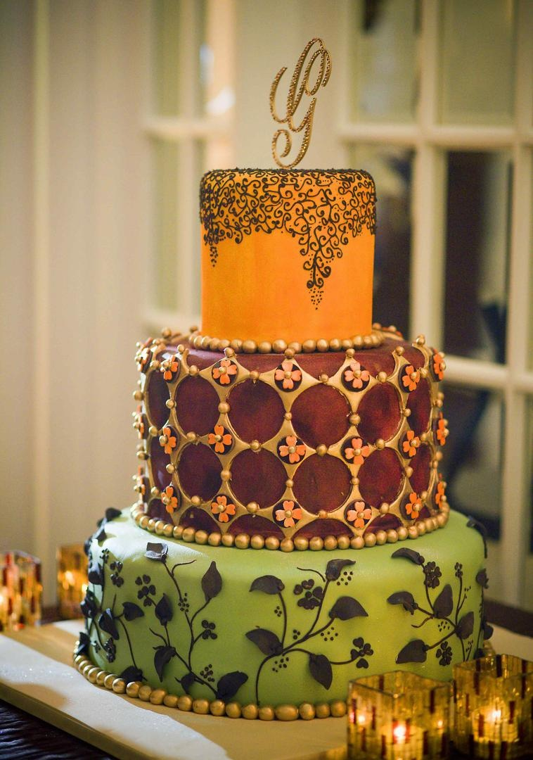 Colorful wedding cake with festive patterns
