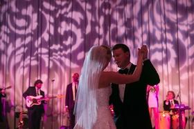 Live wedding band stage with gobo lighting motif