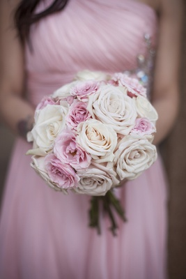 Bridesmaid bouquet of pink rose, pale pink roses, and white roses