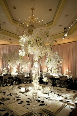 Black and white reception tablecloth with white flower centerpiece