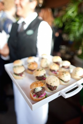 Miniature sliders with onion and bleu cheese