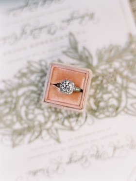 Wedding ring in The Mrs Box velvet engagement ring box halo setting sparkling diamond center stone