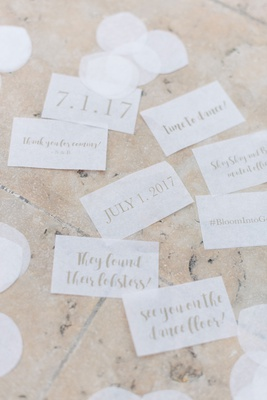 personalized confetti thank you for coming wedding date time to dance hashtag