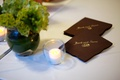 Brown and gold embossed napkin