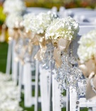 Hydrangeas tied with gold ribbon and crystals