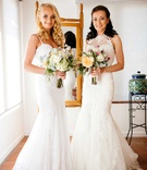 mermaid wedding gowns, two brides, California wedding double Malibu wedding