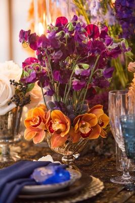 wedding styled shoot, fuchsia sweet peas, orange orchids
