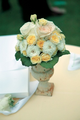 Vintage-looking vessel holding display of roses