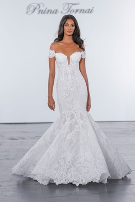 Pnina Tornai for Kleinfeld 2018 wedding dress lace mermaid gown fit flare off shoulder corset bodice