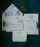 wedding invitation blue monogram and blue white flower envelope liner