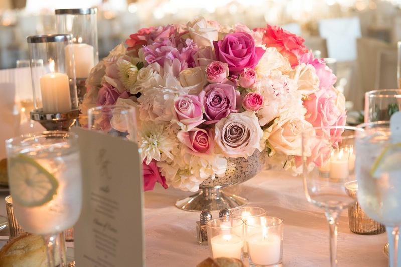 Reception d cor photos mercury glass centerpiece for Glass tables for wedding reception