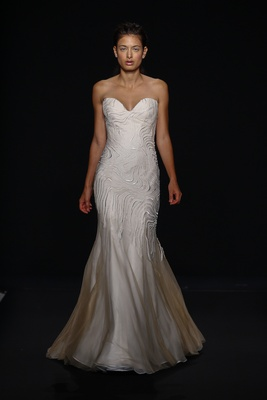 Mark Zunino for Kleinfeld 2016 strapless embroidered wedding dress with sweetheart neckline