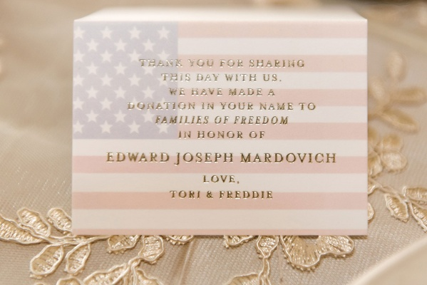 Father of bride died september 11th so donation was made in his honor at wedding favor american flag