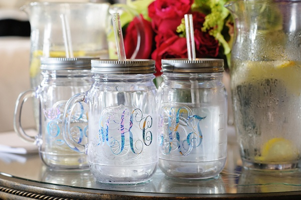 Bridesmaid gifts water bottle mason jars with monograms
