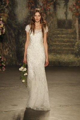 """Sheath """"peas blossom"""" dress with cap sleeves and allover beaded detail by jenny packham"""