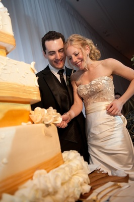 Bride and groom cut into wedding cake at reception