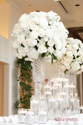 Stark whites and stunning crystal come together beautifully.
