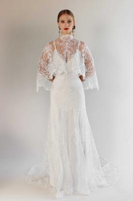 Romantique by Claire Pettibone Spring 2017 California Dreamin' Santa Monica wedding dress lace cape