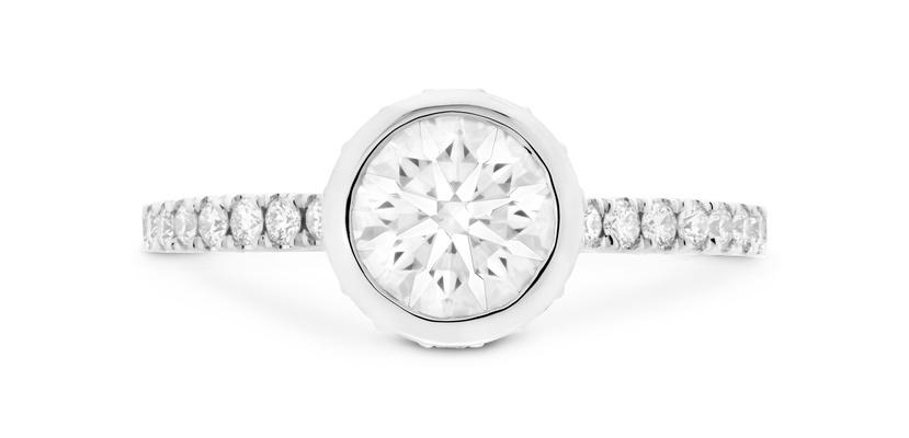 Hearts On Fire Round Bezel set diamond engagement ring pave band