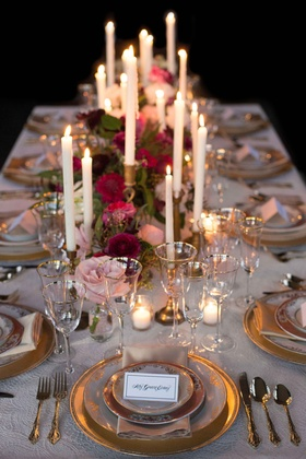 vintage inspired tablescape candles floral runner wedding styled shoot gold simple old world pink