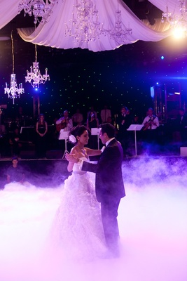 Newlyweds first dance under purple lights