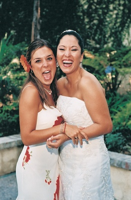 Laughing bride and her friend