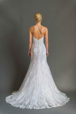 Sabrina Dahan 2016 back of strapless silver embroidery trumpet wedding dress