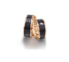 Furrer Jacot 71-84170 rose gold and carbon fiber wedding band