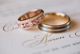 nontraditional wedding ring with rose gold, diamonds, and pink sapphires, two-toned men's ring