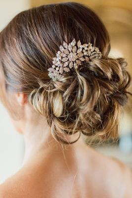 USABride hair accessory headpiece crystal pearls messy updo bun outdoor wedding hairstyle ideas
