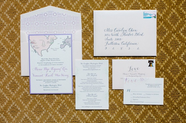 invitation suite with blush envelopes and lavender invitation