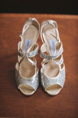 Peep-toe Jimmy Choo wedding shoes with straps