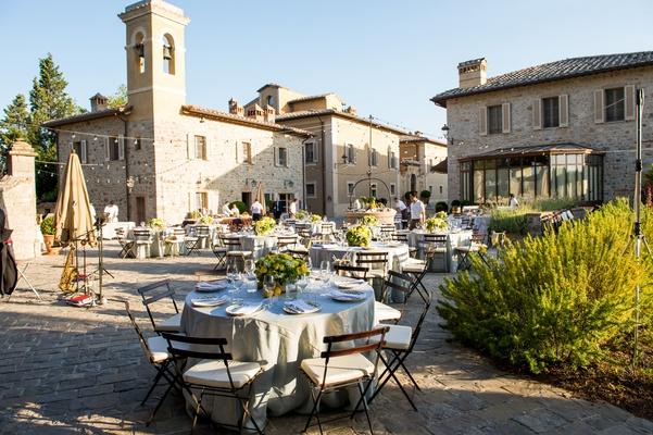 Rehearsal dinner in a courtyard at Castiglione del Bosco