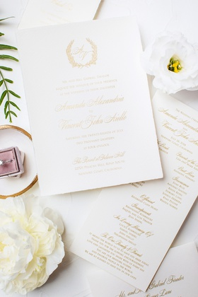 invitation suite with gold letters, wreath monogram with gold