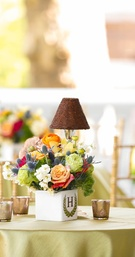 Bold Floral and Monogram Vase Centerpiece