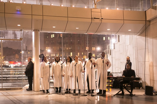 Museum wedding in brooklyn new york gospel choir in white robes view of city