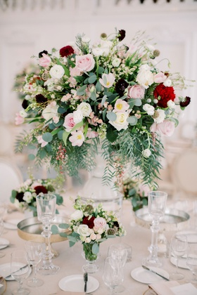 wedding reception centerpiece pink white burgundy red flowers gold accents kike hernandez wedding