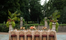 wedding inspiration styled shoot, pale pink, burgundy chair cushions, chameleon chairs, garden