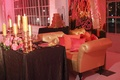 Gold chaise lounge for bride and groom