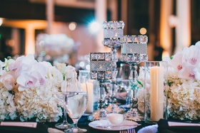 wedding reception hydrangea orchid candlesticks with crystal details pillar candles in glass