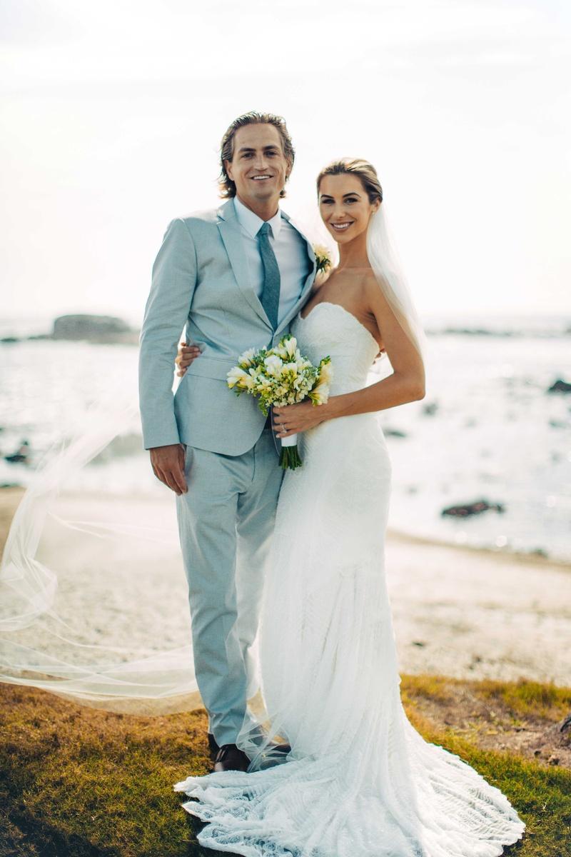 Couples Photos - Bride, Groom Pose on Beach - Inside Weddings