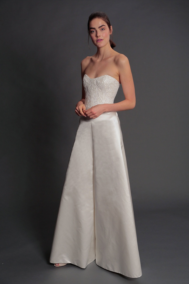 Isabelle Armstrong fall 2019 bridal collection wedding dress Helen corset Eleonora wide-legged pant