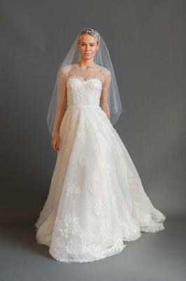 Sabrina Dahan 2016 long sleeve illusion wedding dress with flower applique skirt and beaded sleeves