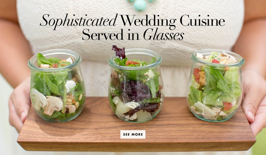 Wedding food and appetizers served in glass jars or glasses