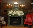 Mansion wedding reception with fire place decoration