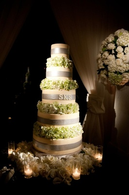 Round wedding cake with hydrangea tiers