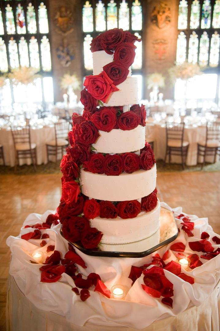 Cakes Desserts Photos Wedding Cake With Cascading Red Roses